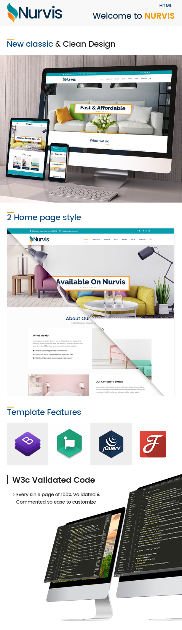 Nurvis - Furnitue Homestyle Bootstrap 4 Responsive HTML5 Template - 1