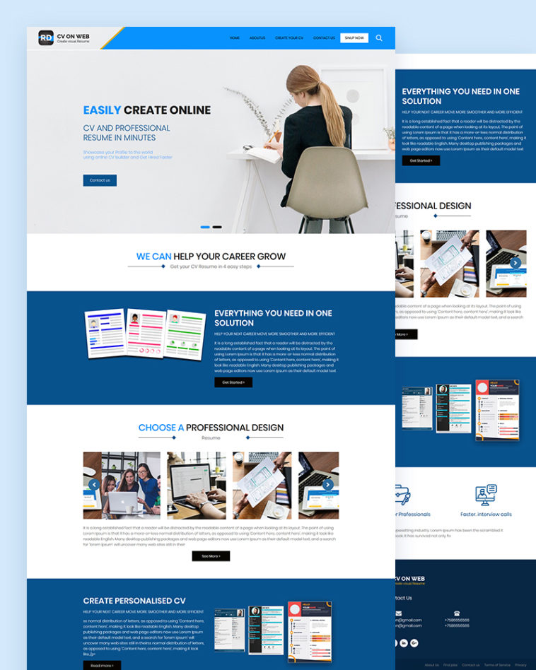 Rd Free Professional Cv Resume Website Template