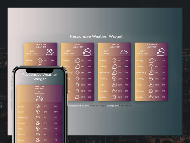 Weather Widget Responsive html