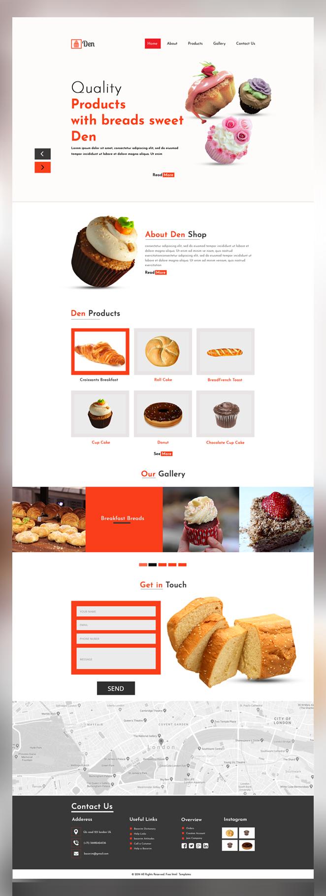 Den free bakery shop psd template