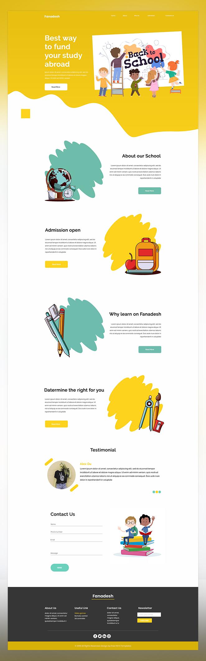 Fanadesh free school psd template