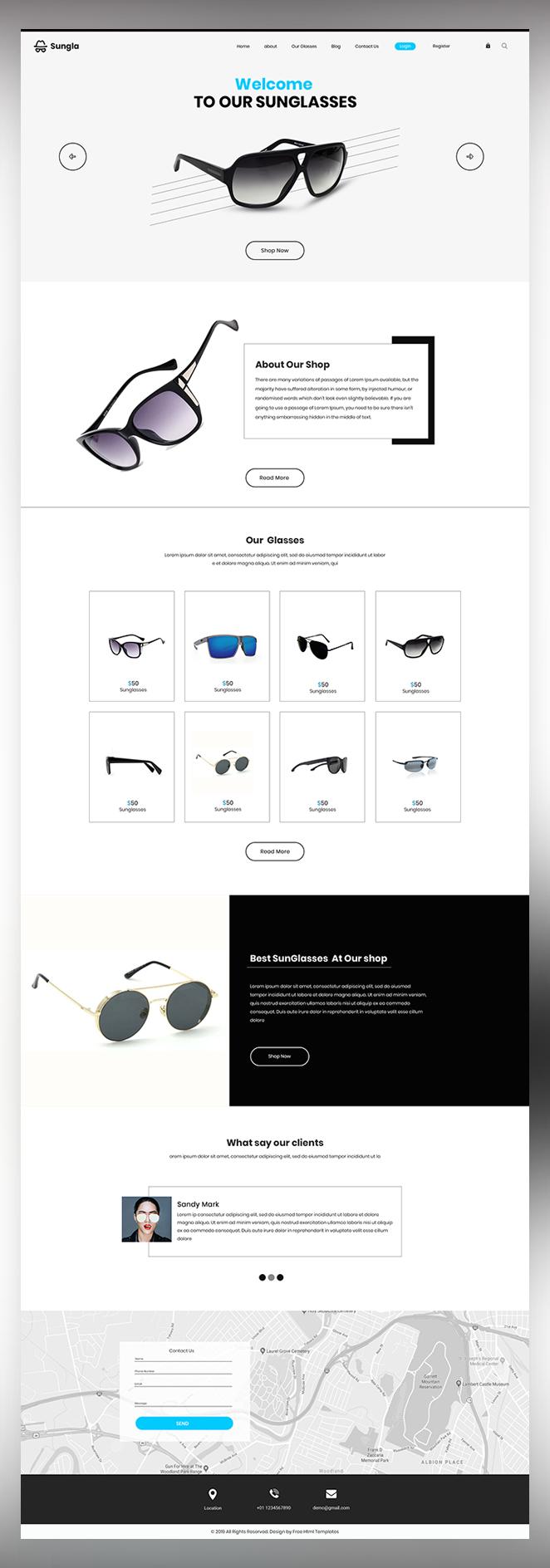 sungla glasses shop psd template
