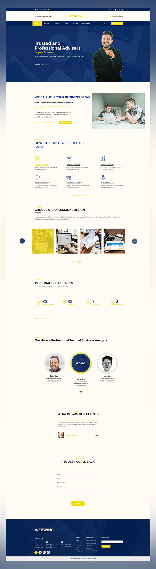 Webwing business adviser psd template