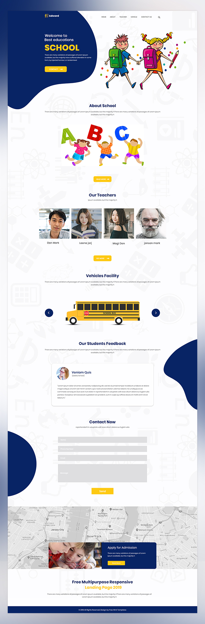Adward school website adviser psd template