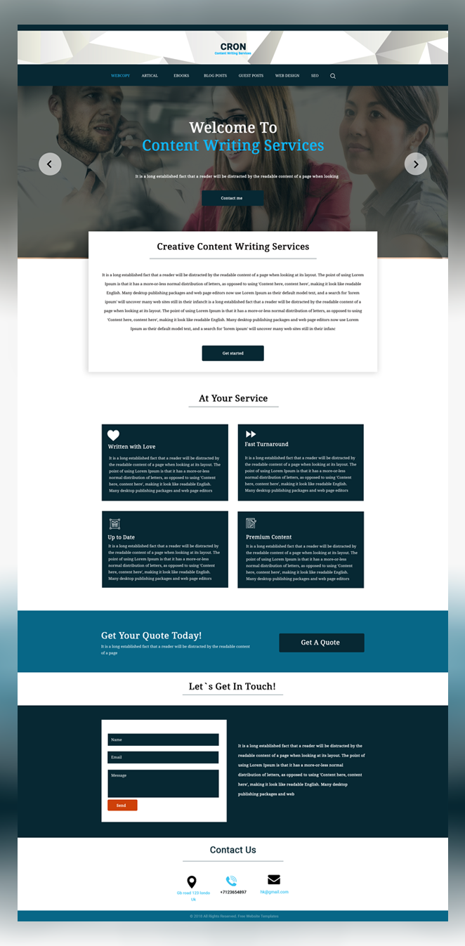 Cron free content Writer psd template