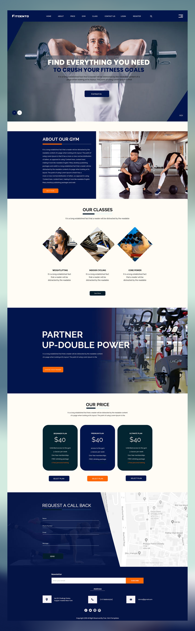 Fitness gym website psd template