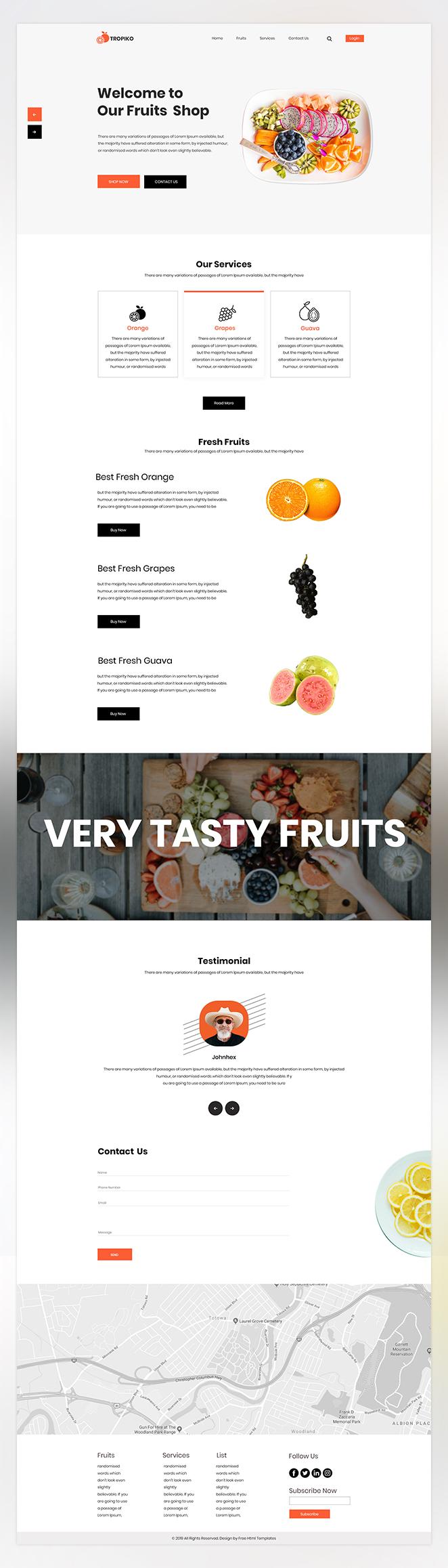 Tropiko fruit store psd template