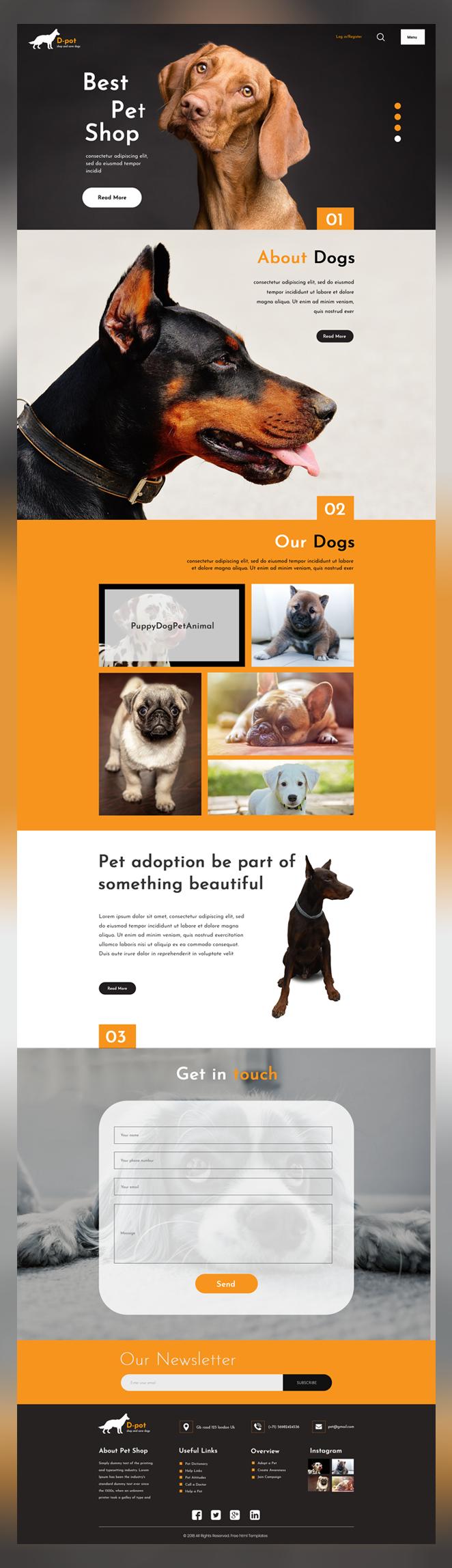 DPot pet shop psd template
