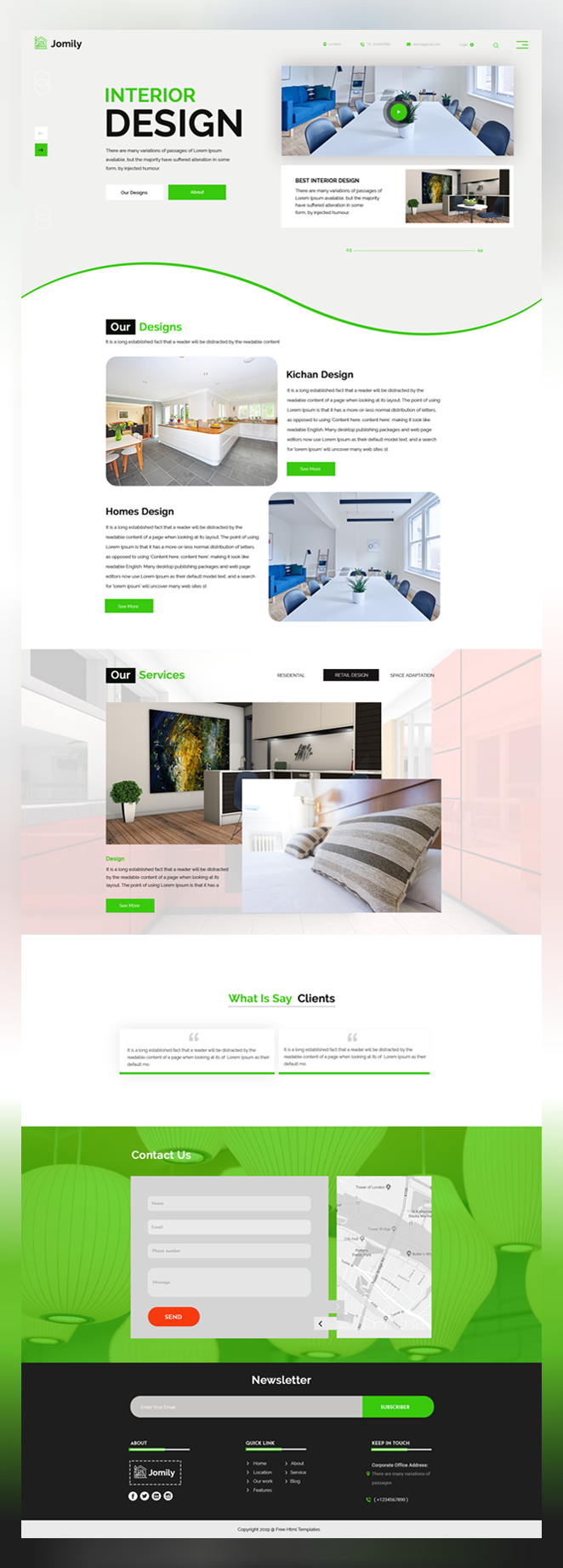 Jomily interior design psd template