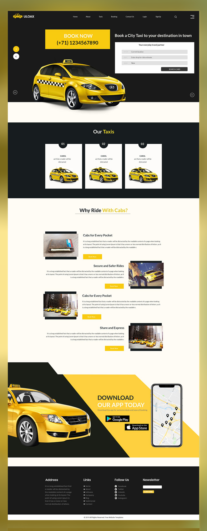ULOAX taxi booking psd template