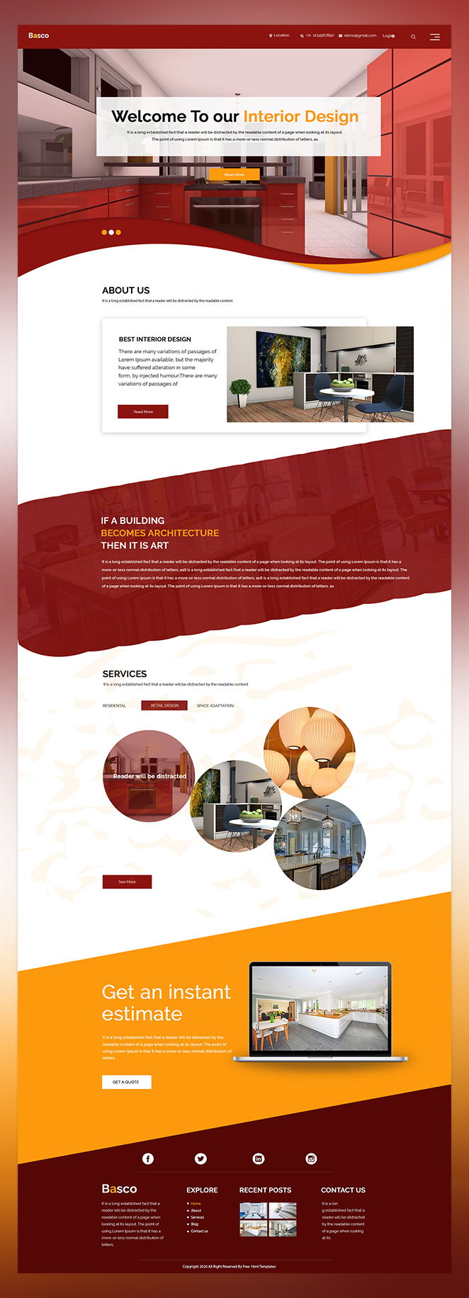 Basco interior design psd template