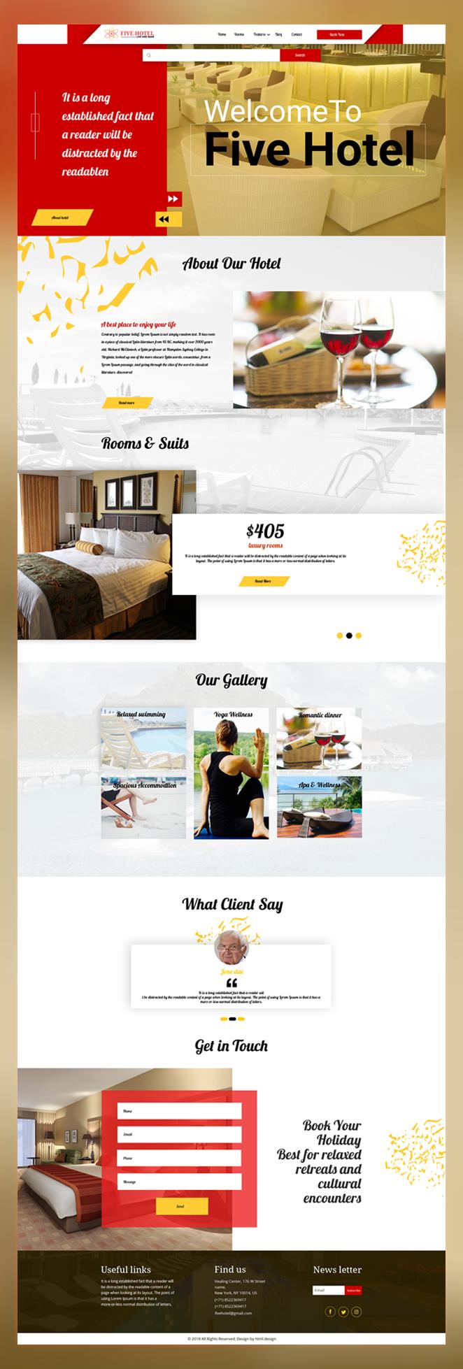 Five hotel psd template