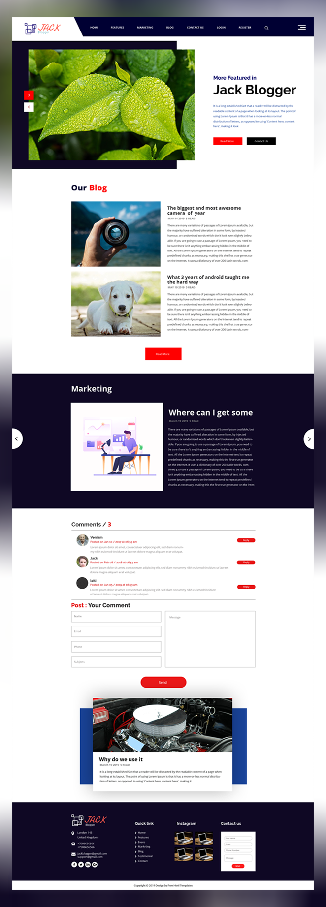 Jack blogger psd template