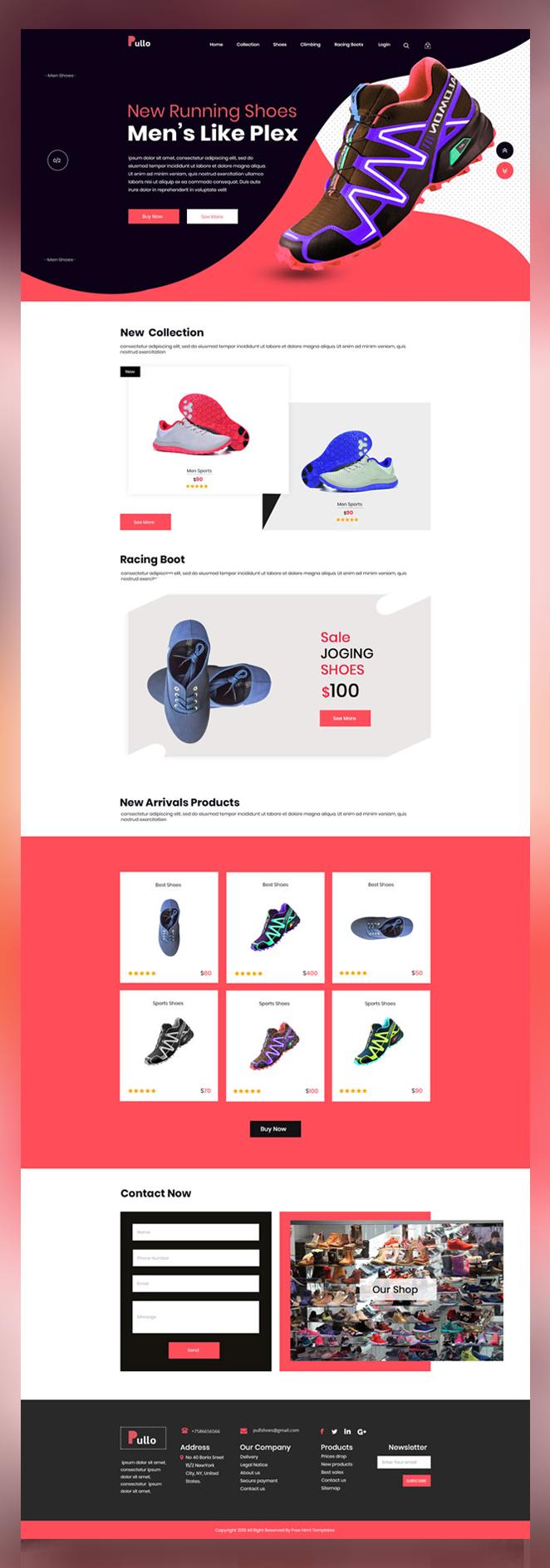 Pullo shoes shop psd template