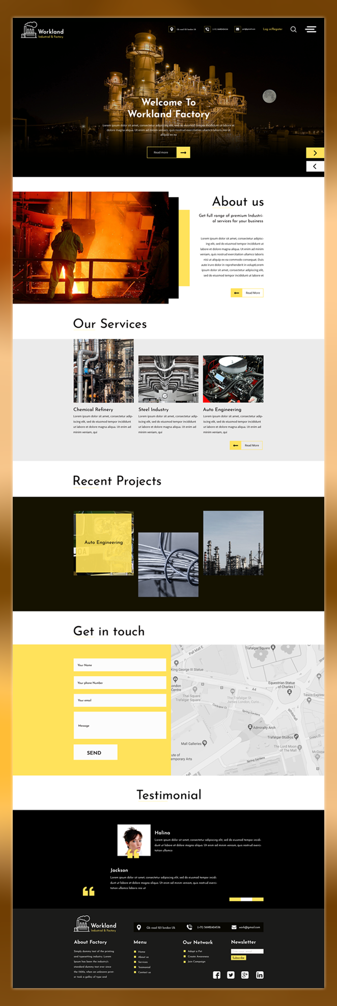 Workland industrial factory psd template