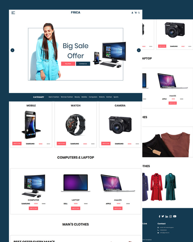Basic Ecommerce PSD Template Free