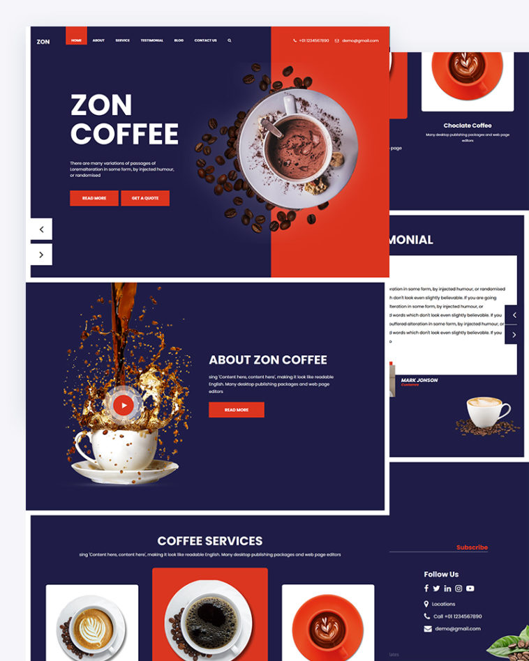 Free Coffee PSD Template Download
