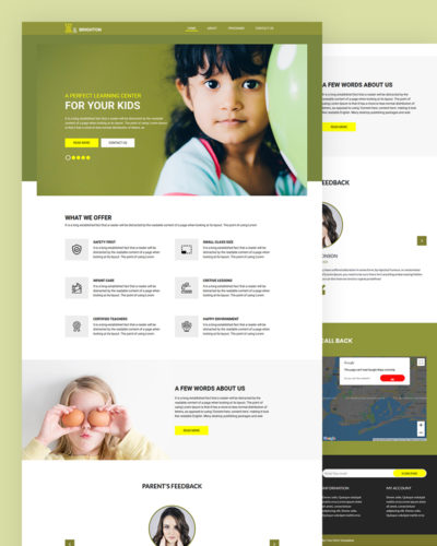Learning center PSD Template Free