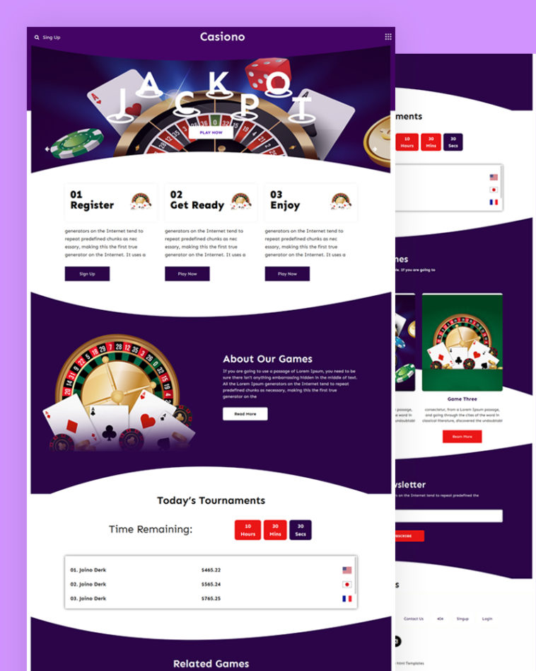 Casiono – Casino PSD Template Free Download