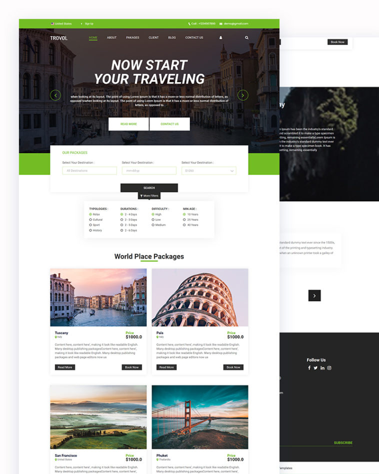 Traveling HTML Template Download
