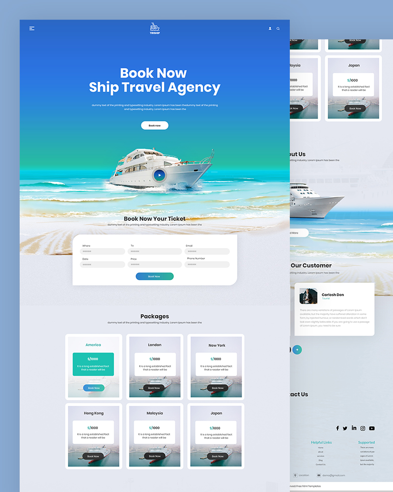 Triship – Travel Agency HTML Template Free Download