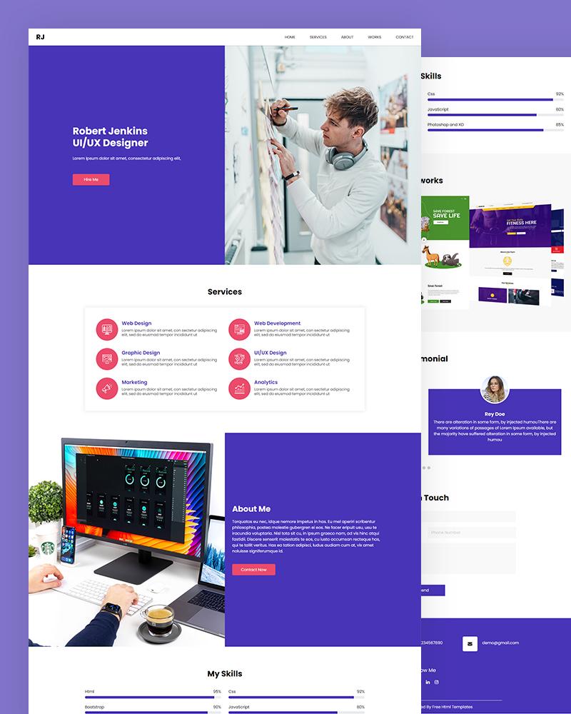 RJ – UI/UX Designer HTML Template Free Download