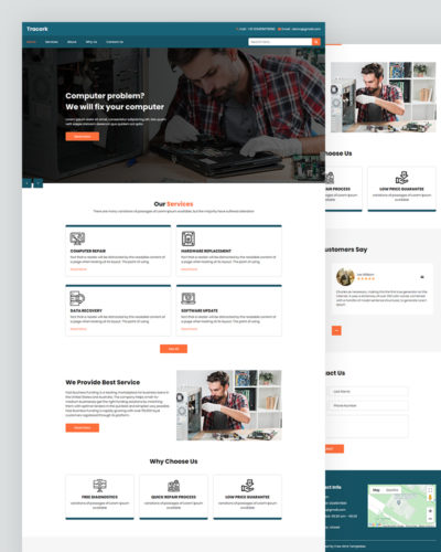 Tracork – Computer Repair Website Template Free