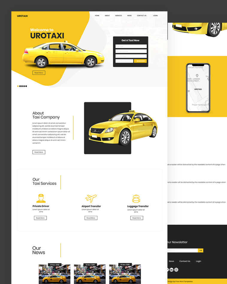 Urotaxi – Download Taxi Services HTML Template Free