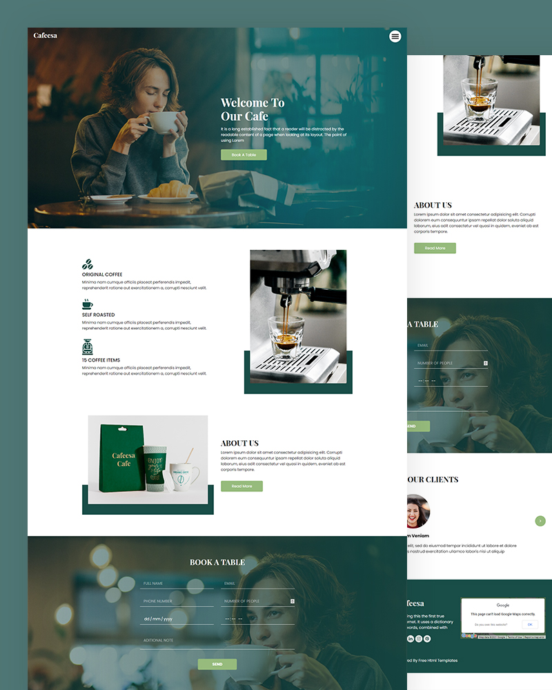 Cafeesa – Free Cafe HTML5 Template Free Download