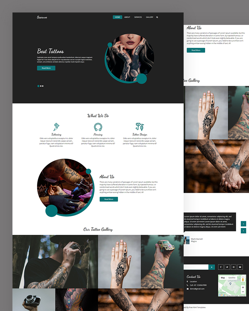 Scarvve – Tattoos HTML Template Free Download